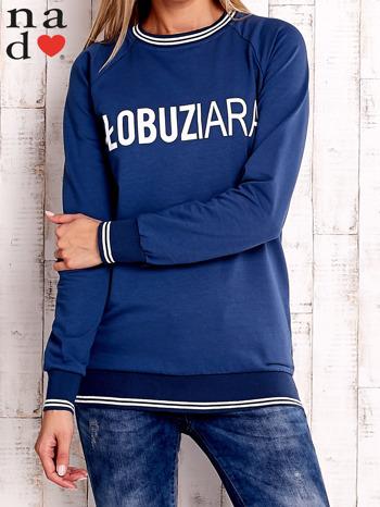 Ciemnoniebieska bluza z napisem ŁOBUZIARA                                  zdj.                                  1