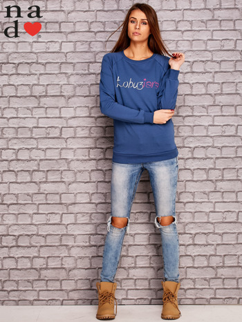 Ciemnoniebieska bluza z napisem ŁOBUZIARA                                  zdj.                                  2