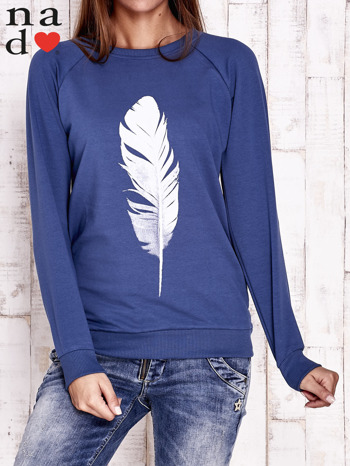 Ciemnoniebieska bluza z piórkiem                                  zdj.                                  1