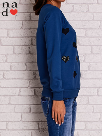 Ciemnoniebieska bluza z serduszkami                                  zdj.                                  3
