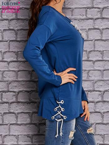Ciemnoniebieska bluza z wiązaniami                                   zdj.                                  3