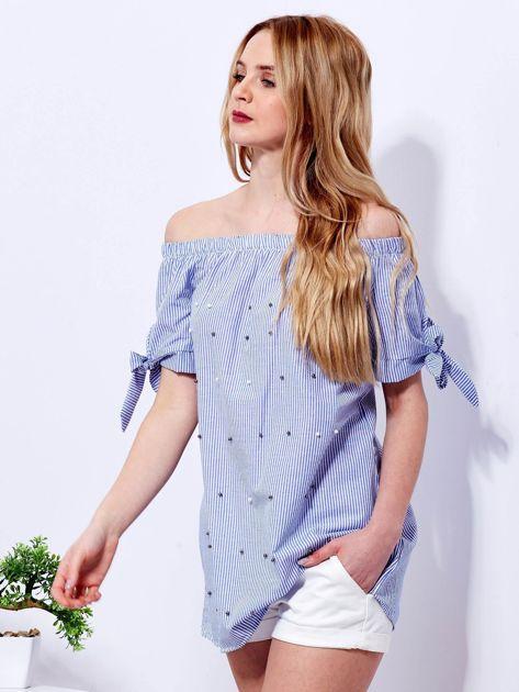 Ciemnoniebieska bluzka hiszpanka w paski z perełkami                              zdj.                              5