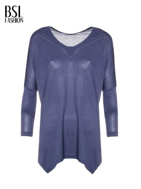 Ciemnoniebieska bluzka z asymetrycznym cięciem na dole                                  zdj.                                  5