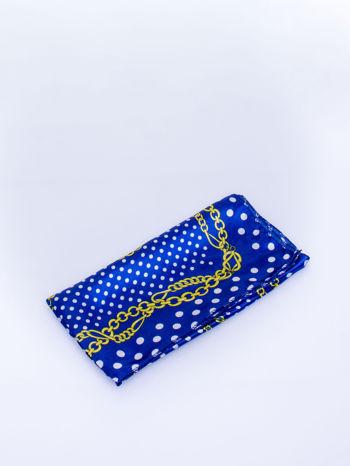 Ciemnoniebieska chusta apaszka w grochy                                  zdj.                                  3