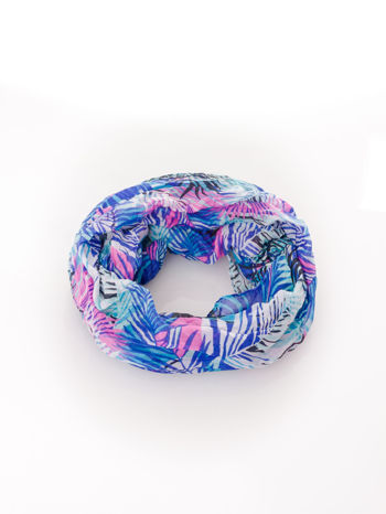 Ciemnoniebieska chusta we wzór palm                                  zdj.                                  2