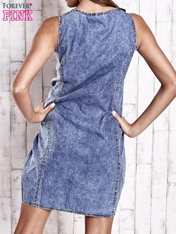 Ciemnoniebieska denimowa sukienka z suwakiem                                  zdj.                                  2