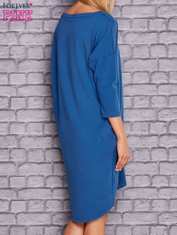 Ciemnoniebieska gładka sukienka oversize                                  zdj.                                  4