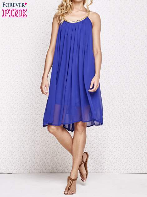 Ciemnoniebieska grecka sukienka ze złotym paskiem                                  zdj.                                  6