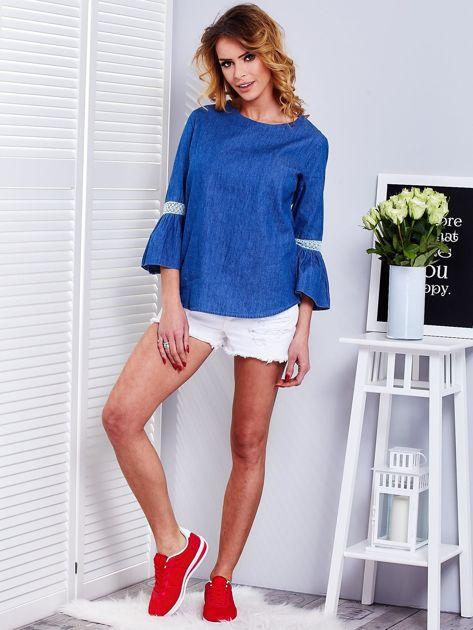 Ciemnoniebieska jeansowa bluzka z szerokimi rękawami                              zdj.                              4