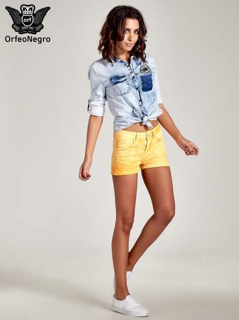 Ciemnoniebieska jeansowa koszula z naszywkami                                  zdj.                                  9