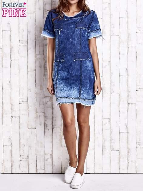 Ciemnoniebieska jeansowa sukienka z surowym wykończeniem                                  zdj.                                  7