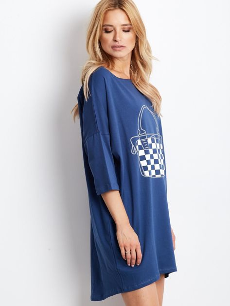 Ciemnoniebieska luźna dresowa sukienka                              zdj.                              3