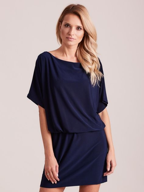 Ciemnoniebieska sukienka z dekoltem na plecach                              zdj.                              1