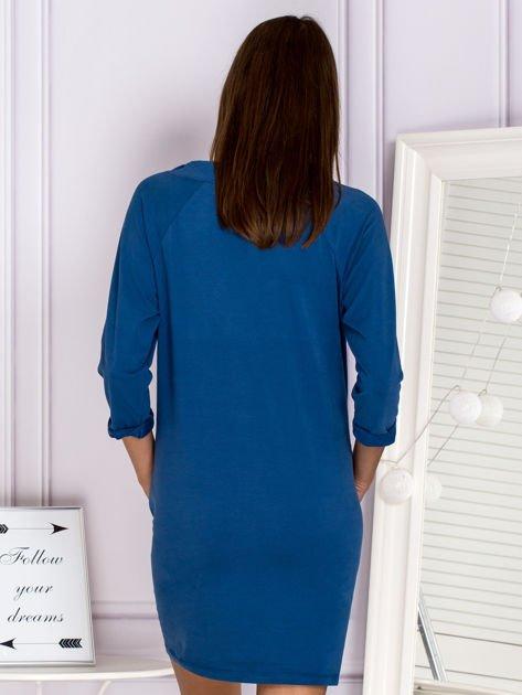 Ciemnoniebieska sukienka z troczkami                              zdj.                              2