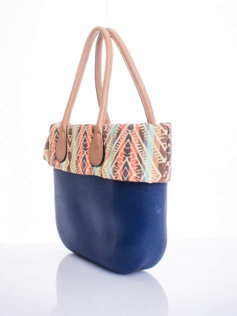 Ciemnoniebieska torba gumowa z motywem azteckim                                  zdj.                                  3