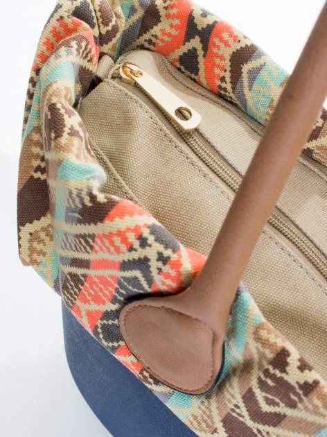 Ciemnoniebieska torba gumowa z motywem azteckim                                  zdj.                                  4