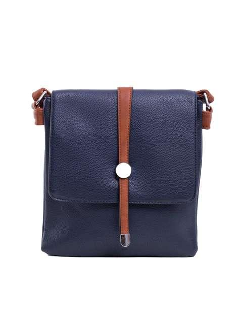 Ciemnoniebieska torba na ramię z ekoskóry