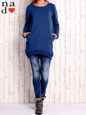 Ciemnoniebieska tunika z kieszeniami                                  zdj.                                  2