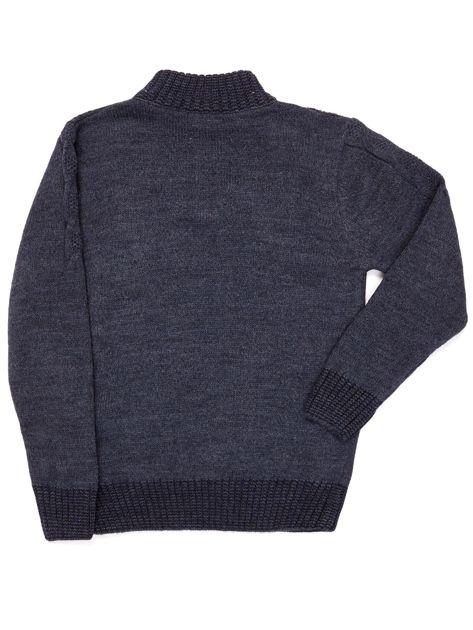 Ciemnoniebieski dziergany sweter dla chłopca                               zdj.                              5