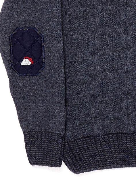 Ciemnoniebieski dziergany sweter dla chłopca                               zdj.                              7