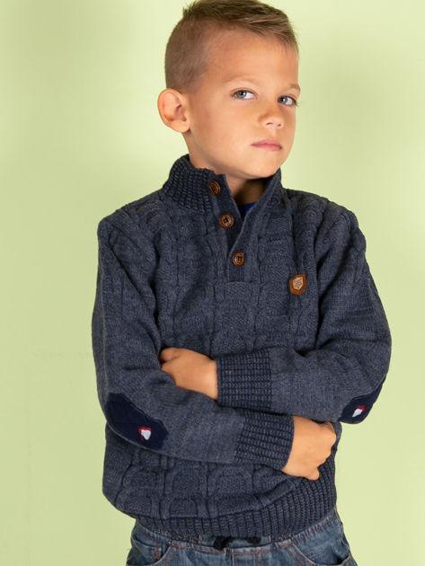 Ciemnoniebieski dziergany sweter dla chłopca                               zdj.                              2