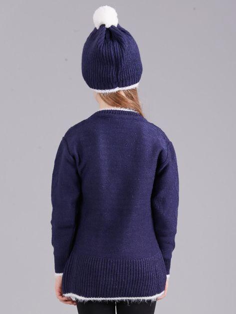 Ciemnoniebieski komplet zimowy dla dziewczynki                              zdj.                              3