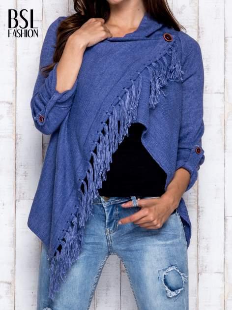 Ciemnoniebieski otwarty sweter z podwijanymi rękawami                                  zdj.                                  1