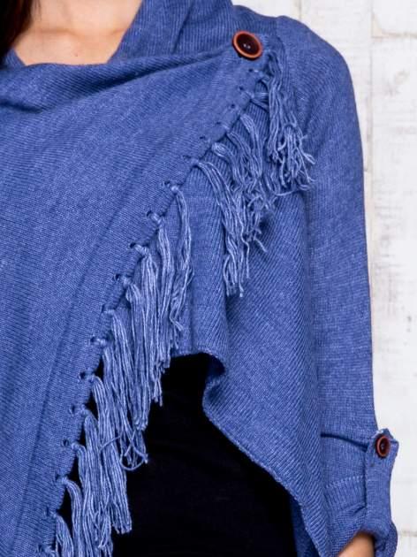 Ciemnoniebieski otwarty sweter z podwijanymi rękawami                                  zdj.                                  6