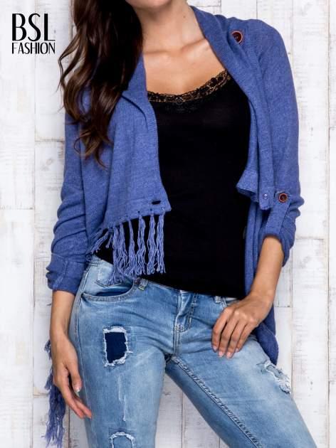 Ciemnoniebieski otwarty sweter z podwijanymi rękawami                                  zdj.                                  8
