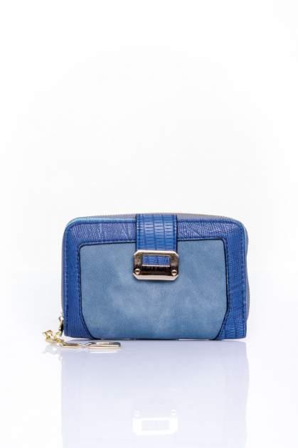 Ciemnoniebieski portfel z ozdobną złotą klamrą                                  zdj.                                  1