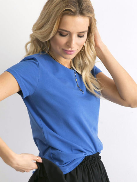Ciemnoniebieski t-shirt Peachy                              zdj.                              3