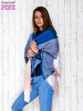 Ciemnoniebieski wełniany szalik w szeroką kratę                                  zdj.                                  3