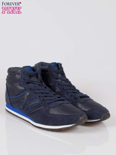 Ciemnoniebieskie buty sportowe faux leather Glory za kostkę w stylu koszykarskim                                  zdj.                                  2