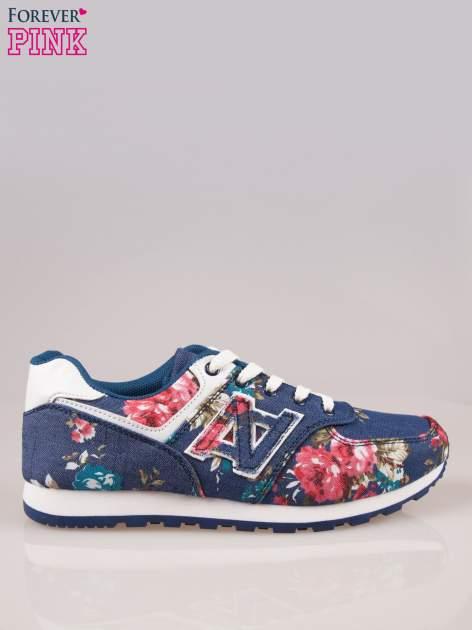 Ciemnoniebieskie kwiatowe buty sportowe w stylu casual
