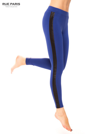 Ciemnoniebieskie legginsy ze skórzanym lampasem                                  zdj.                                  1