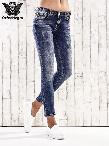 Ciemnoniebieskie spodnie jeansowe marble denim                                  zdj.                                  1