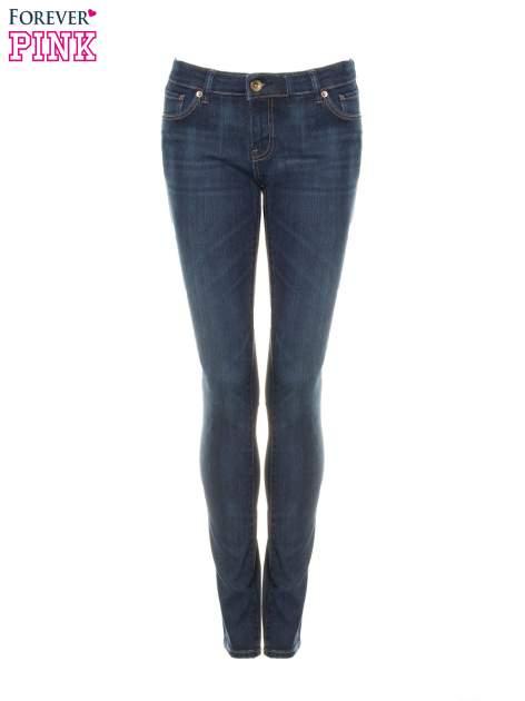 Ciemnoniebieskie spodnie jeansowe rurki                                   zdj.                                  5