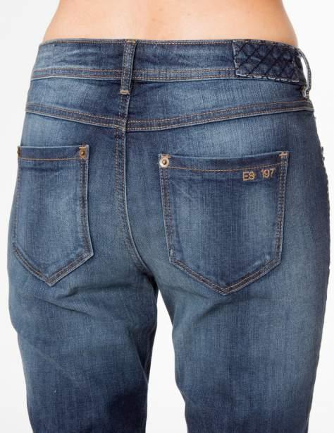 Ciemnoniebieskie spodnie jeansowe rurki z pikowanymi wstawkami                                  zdj.                                  6