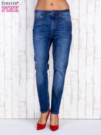 Ciemnoniebieskie spodnie jeansowe z wysokim stanem