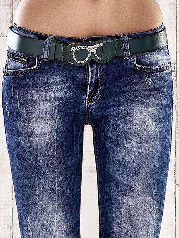 Ciemnoniebieskie spodnie skinny jeans z paskiem                                  zdj.                                  4