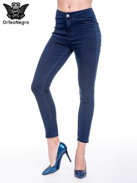 Ciemnoniebieskie spodnie skinny jeans z wysokim stanem