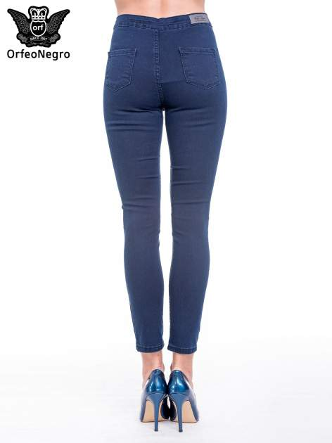 Ciemnoniebieskie spodnie skinny jeans z wysokim stanem                                  zdj.                                  5