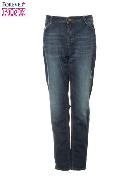 Ciemnoniebieskie spodnie typu boyfriend jeans z przetarciami                                  zdj.                                  5