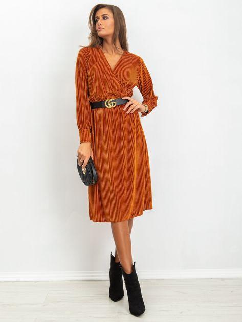 Ciemnopomarańczowa sukienka Attractive                              zdj.                              4