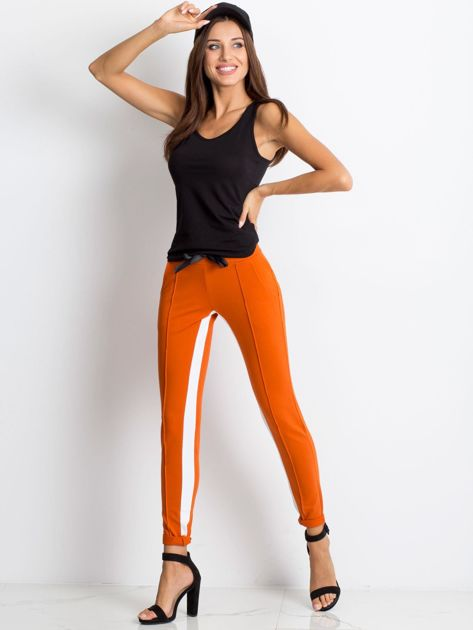 Ciemnopomarańczowe spodnie dresowe Defined                              zdj.                              4