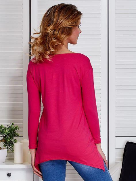 Ciemnoróżowa asymetryczna bluzka z babeczką                              zdj.                              2