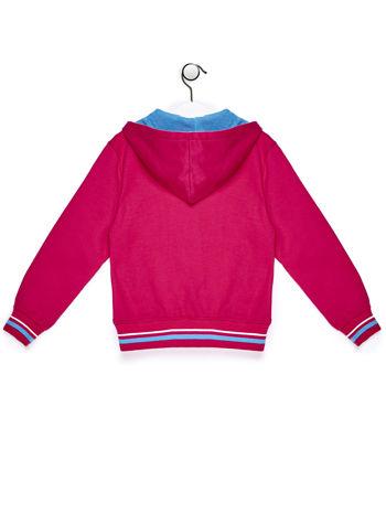 Ciemnoróżowa bluza dla dziewczynki z naszywkami i napisem