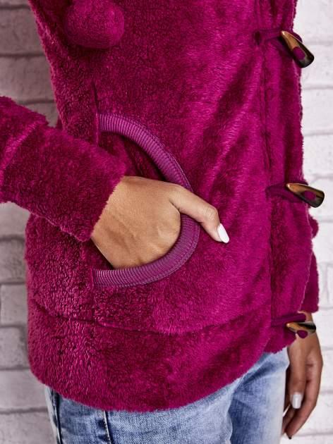 Ciemnoróżowa bluza misiek z kapturem i pomponami                                  zdj.                                  6