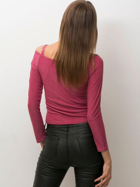 Ciemnoróżowa bluzka damska cut out                              zdj.                              2