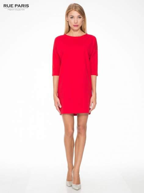 Ciemnoróżowa prosta sukienka z zamkiem z tyłu                                  zdj.                                  2